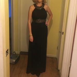 Full Length Black with Gold trim formal dress